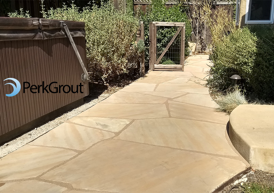 PerkGrout Tan on buff flagstone path
