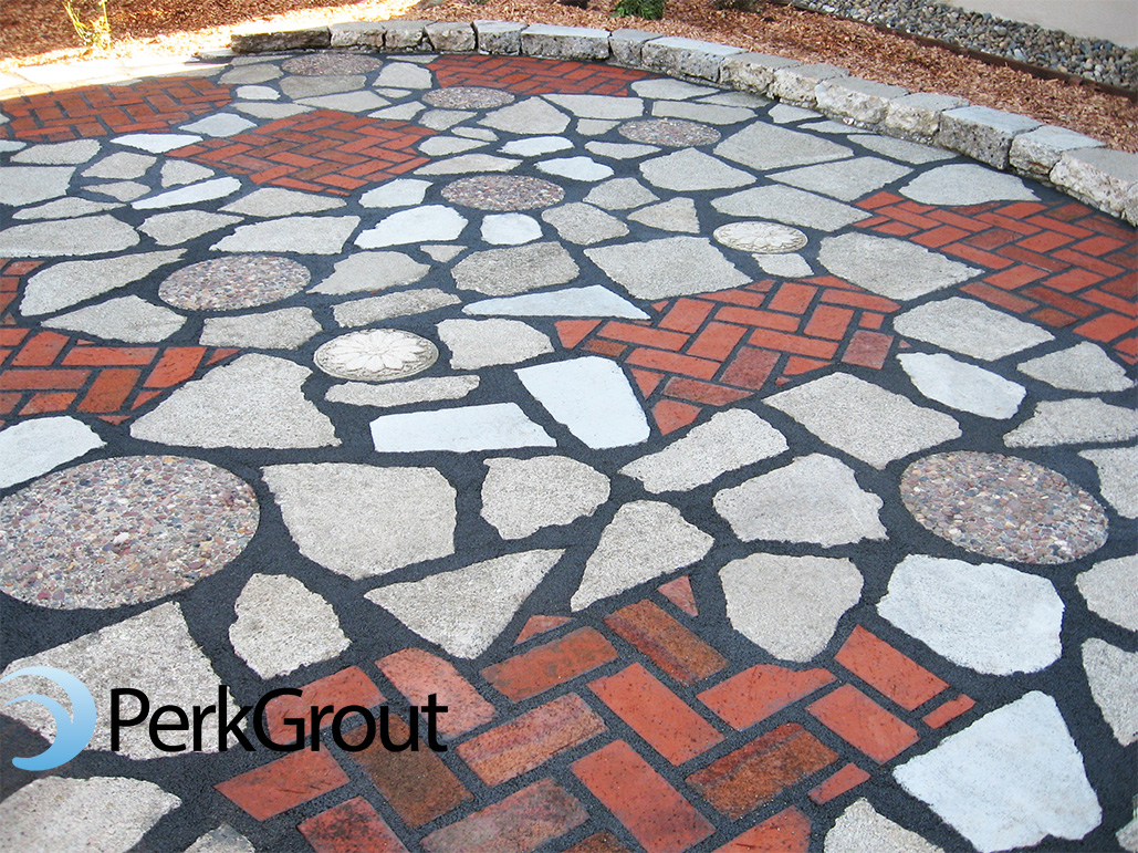 Recycled-concrete-and-brick-patio-with-PerkGrout-custom-charcoal-color