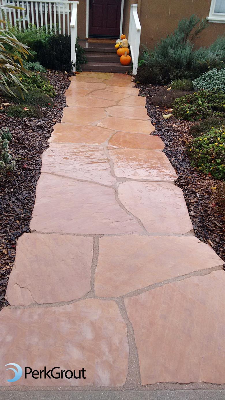 Tan-PerkGrout-on-pink-Arizona-flagstone-path